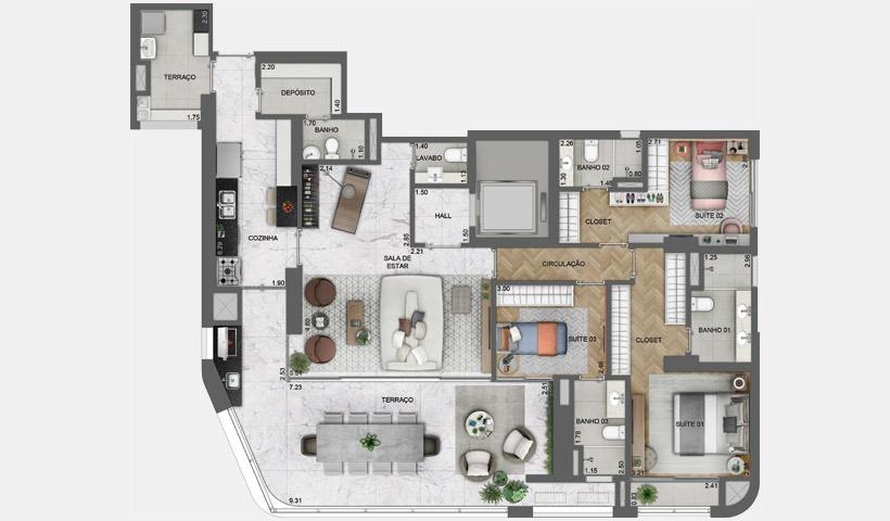 parque da cidade,apartamento 3 dormitorios 162 m² c 3 vagas