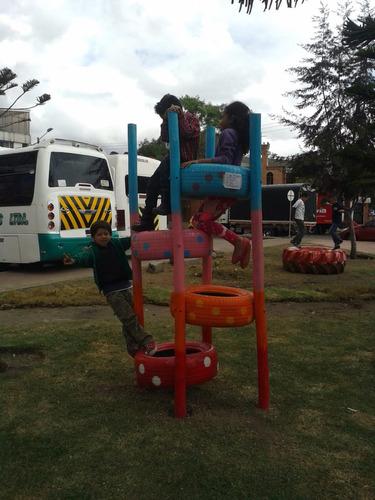 parques infantiles, playground, madera, llantas