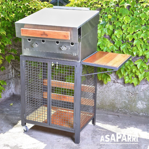 parrilla a gas asaparri 2 mecheros con base y tapa acero