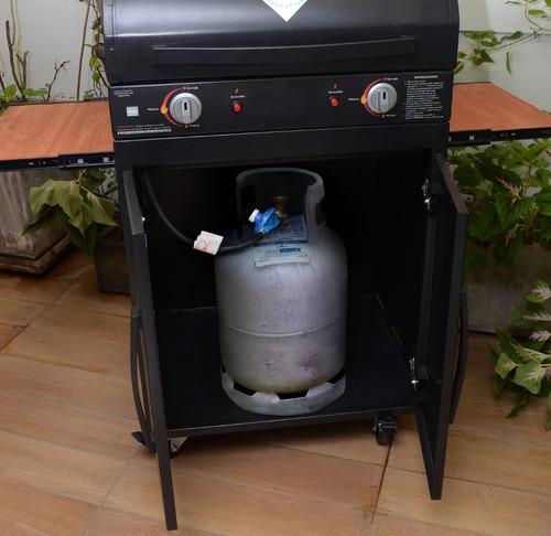 parrilla a gas envasado con tapa ,carro garrafero y regulado