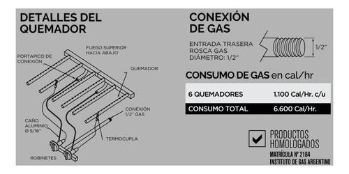 parrilla a gas sin humo  sol real 74x40 cm util bajo consumo