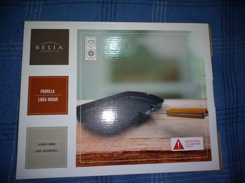 parrilla antiadherente con mango plegable - marca: belia