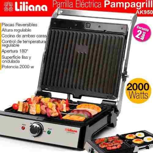 parrilla eléctrica grillera reversible c/ plancha liliana