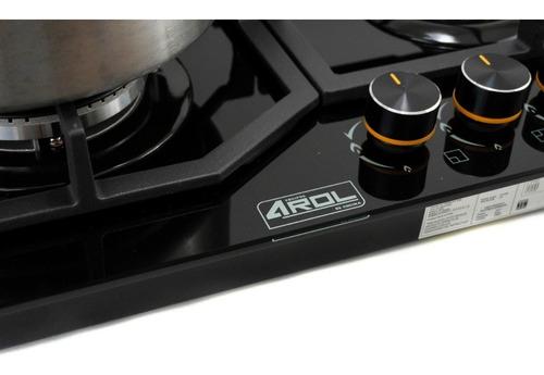 parrilla empotrable a gas 4 quemadores cristal templado negro 8mm 59x51cm hierro fundido calidad premium arol