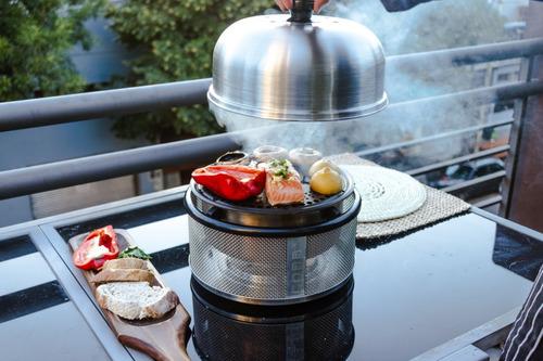 parrilla portatil cobb premier grill a carbon sin humo envio