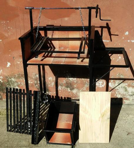parrilla rodante c/carbonera-mesada crike c/altura regulable