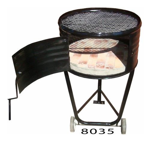 parrilla rodante economica con ladrillos refrac poco espacio