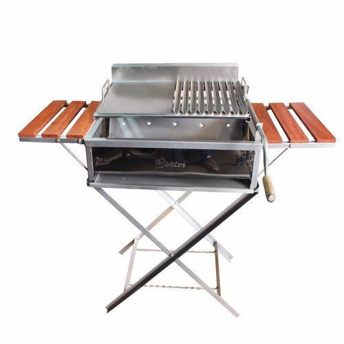 parrilla std inoxidable - grillcorp - mod. plegable mediano