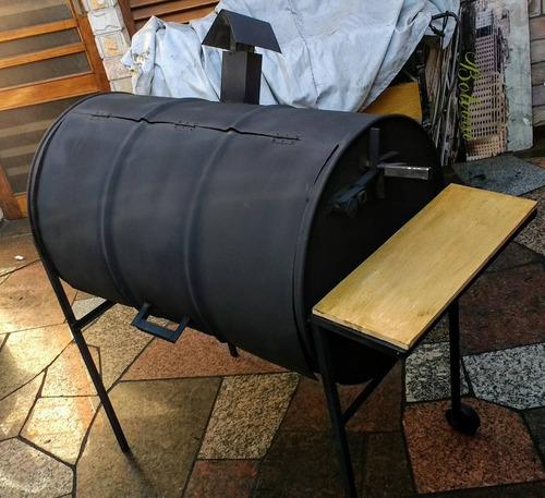 parrilla tambor con altura regulable mesada maciza de madera