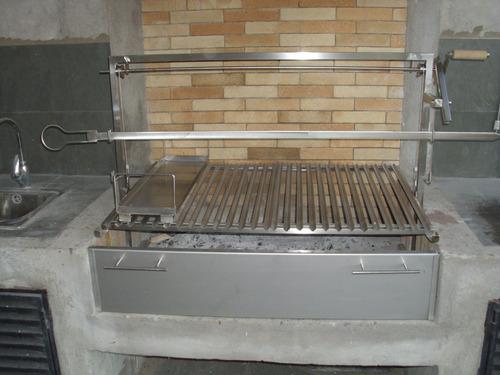 parrillas para asados en acero inoxidable, asadores y discos