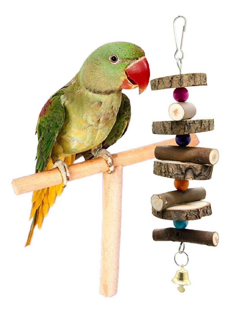 Sidougeri Parrot Bird Cage Juguetes Formaci/ón T Perca Molienda Masticar Madera Soporte Juguete