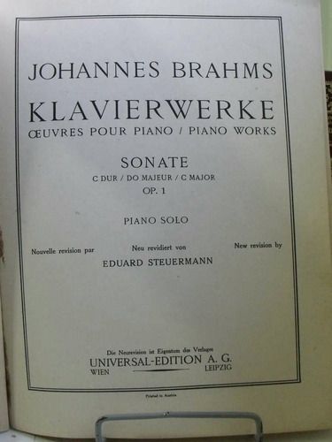partitura brahms piano works sonate op.1 piano solo pz8