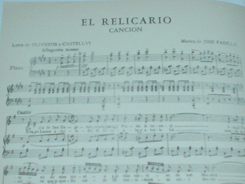 partitura el relicario ricordi canto piano sarita montiel