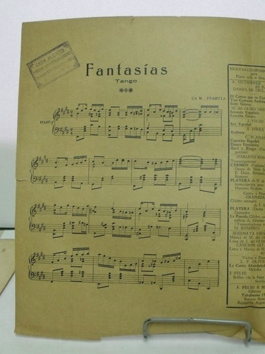 partitura fantasias tango de m. francia   pz8