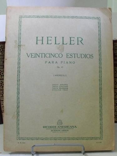 partitura heller 25 estudos piano op.45 quadrilingue l6