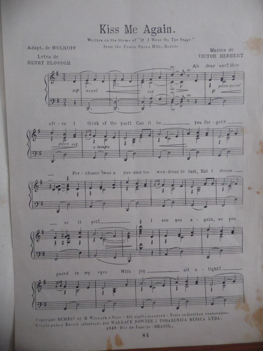 Partitura Kiss Me Again V  Herbert Da Opera Mlle Modiste L2