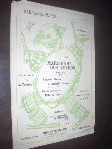 partitura marchinha dos velhos carnaval de 1952