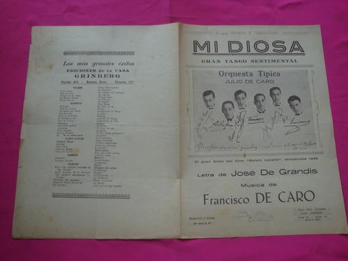 partitura mi diosa jose de grandis francisco canaro - tango