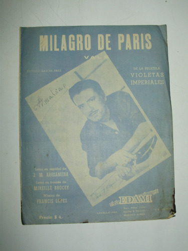 partitura milagro de paris vals edami argentina 1954