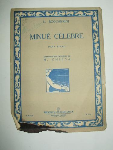 partitura minue celebre piano l. boccherini ricordi arg 1946