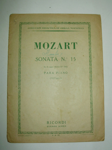 partitura mozart sonata 15 piano do mayor ricordi arg 1954