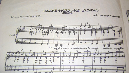 partitura para piano llorando me dormil rock lento