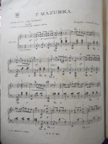 partitura piano - 1 ª mazurka - benjamin gogard - l2