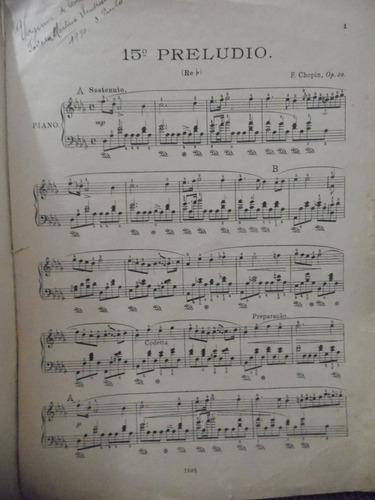 partitura piano - 15 º preludio re bemol - f chopin
