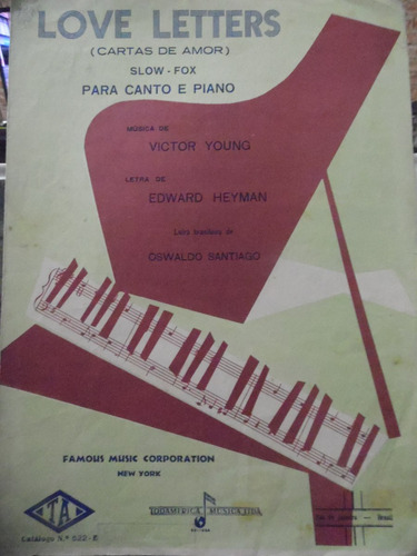 partitura piano canto - love letters - victor young - l2