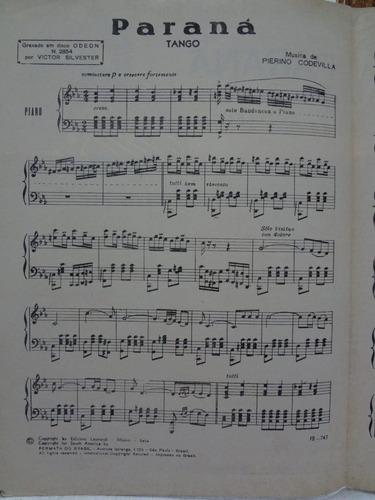 partitura piano tango - paraná - pierino codevilla - l1