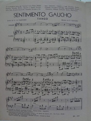 partitura piano tango  sentimiento gaucho j. a. carusso - l1