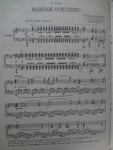 partitura piano  warsaw concerto  richard addinsell