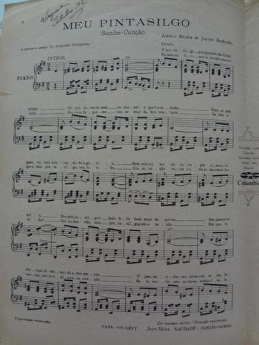 partitura samba canção- meu pintasilgo- jayme redondo - l1