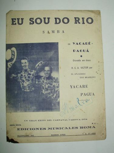 partitura samba eu sou do rio yacare pagua edic. roma arg