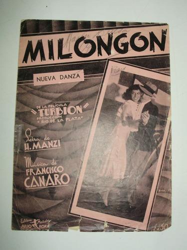 partitura tango milongon h. manzi f. canaro korn arg 1938