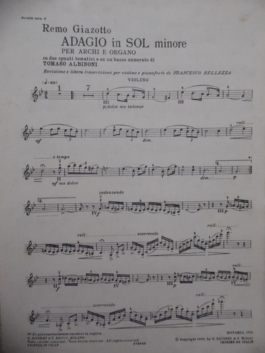 partitura violino  adagio  tomaso albinoti