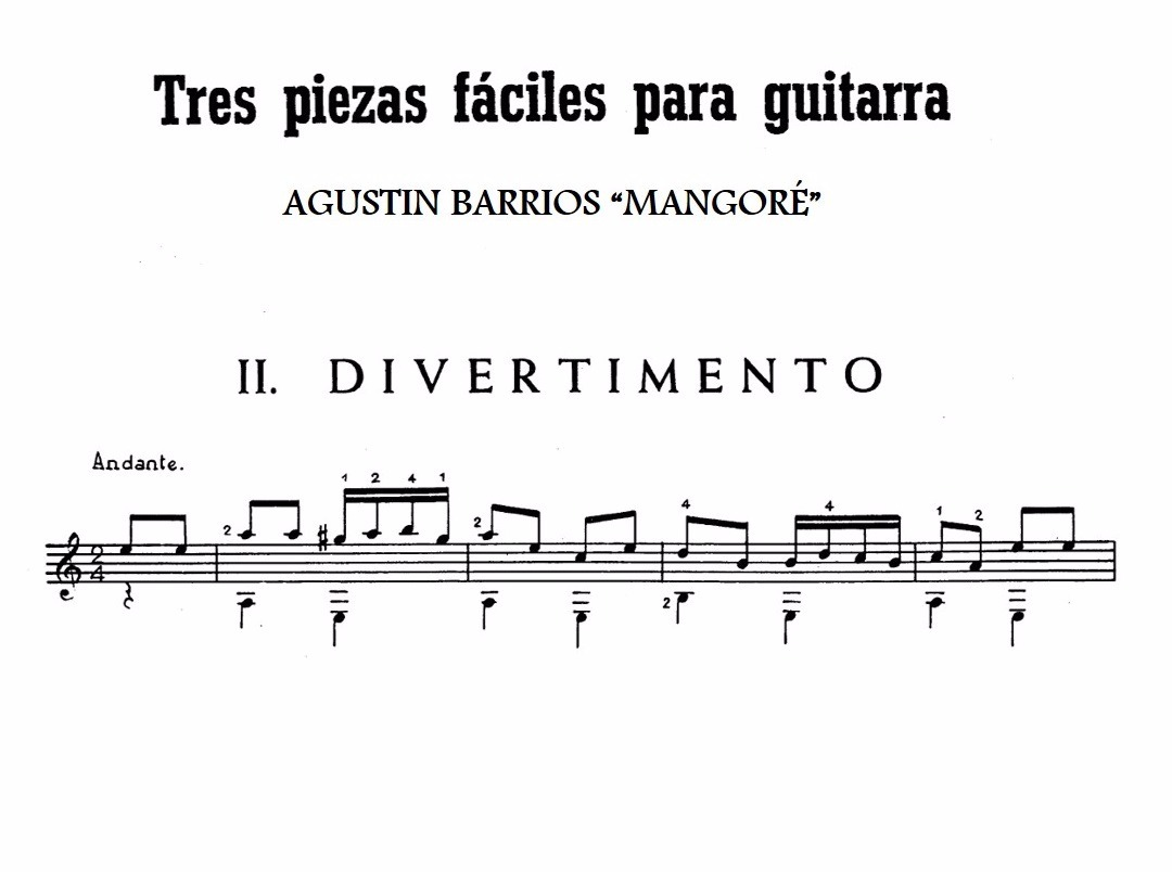 Partituras guitarra 3 piezas faciles agustin barrios for Partituras de guitarra clasica