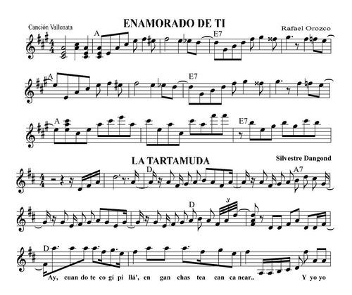 partituras vallenato y tropical - cualquier tema