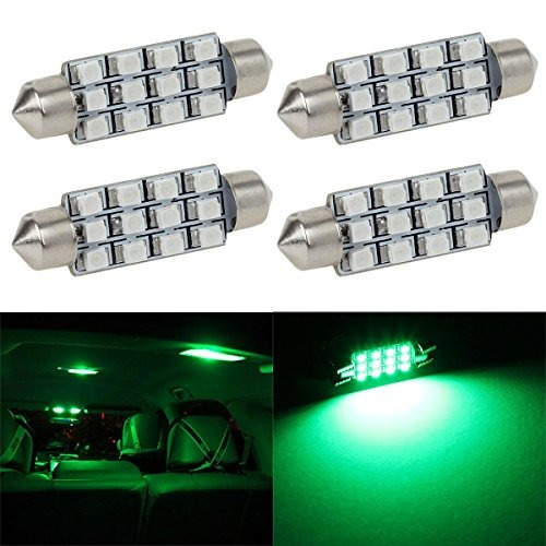 partsam 4pcs verde 41mm 42mm adorno 12smd luz led cúpula in