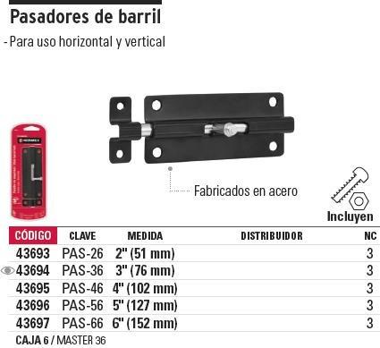pasador barril 4'' hermex 43695