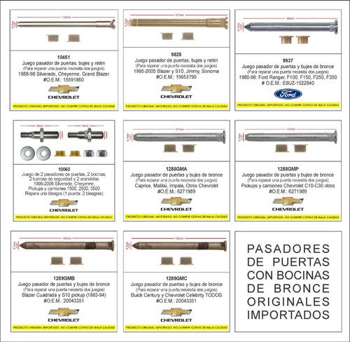 pasador bocinas puerta pickups chevrolet c10-c30 hasta 1987