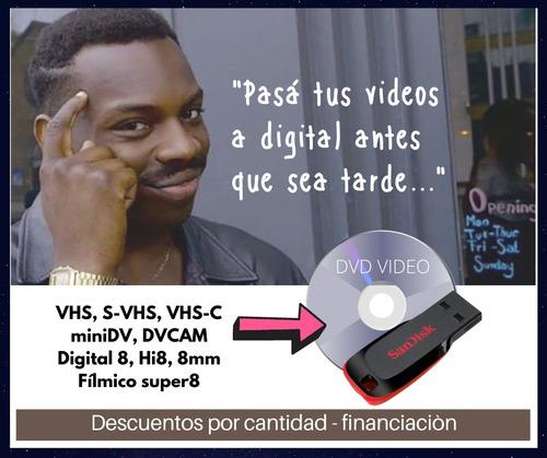 pasaje video o cine a dvd o pendrive.conversion a digital