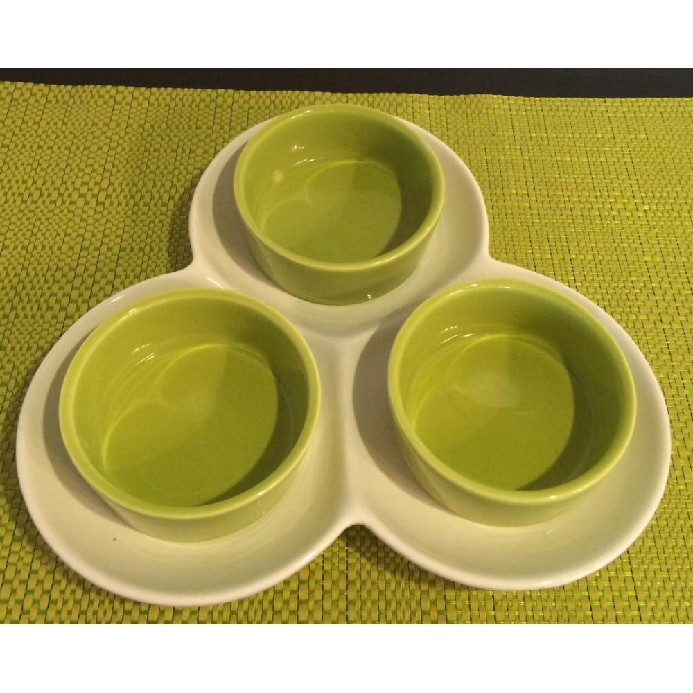 Pasapalera De Ceramica En Tonos Verde Y Blanco Bs 004 En Mercado - Tonos-verde
