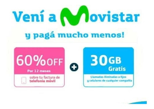 pasate a movistar! 60% off x 12 meses