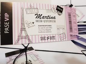 Pase Invitaciones Vip Tarjetas Quince Años Paris 15