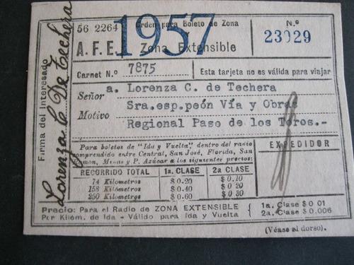 pase libre de trenes de a.f.e. - año 1957-recorrido regional
