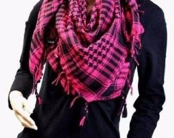 pashmina bufanda color rosa y negro telafresca / impoluz