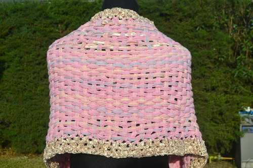 pashmina/chal/ruana/telar/rosa/seda/tejidos artesanales