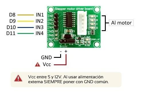 paso a paso stepper motor 28byj-48 + driver uln2003 arduino