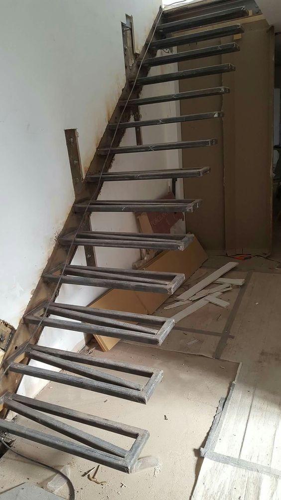 Pasos De Madera Escaleras De Metal Para Interiores Duplex